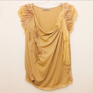VALENTINO T-SHIRT COUTURE LAYER SLEEVE BLOUSE